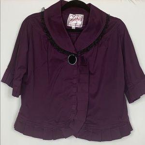 Beverly's plum colored short blazer size Lg.